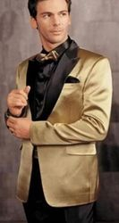 Gold Satin Black Trim Tuxedo -special order