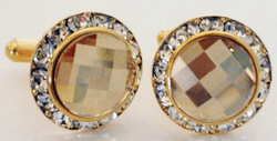 Gold Shadow Swarovski Crystal w/Gold Trim Cufflinks