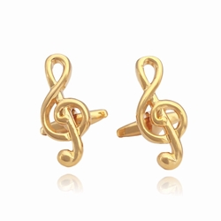Gold Treble Clef Cufflinks