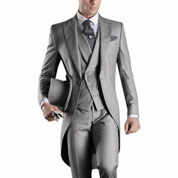 Grey Tuxedo Tail 4pc Suit