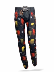 Hand Painted Straight leg Jeans -Star