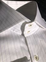 H&C White Blue Black Pinstripe Herringbone Shirt 2XLslim fit