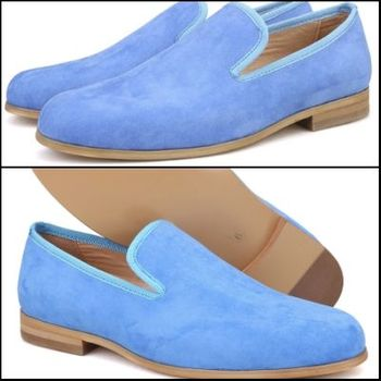 Light Blue Suede Slip-on Shoes