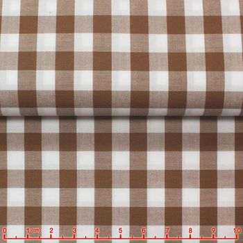 Light Coffee Gingham Spread Collar Shirt -Special order