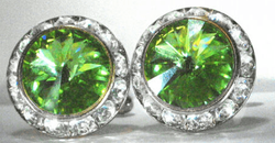 Lime Swarovski Crystal w/Silver trim Cufflinks