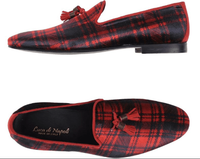 Luca Di Napoli Red Navy Velvet Plaid Loafers size11
