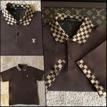 Brown LV Short Sleeve Shirt (fits size XL to 2XL)
