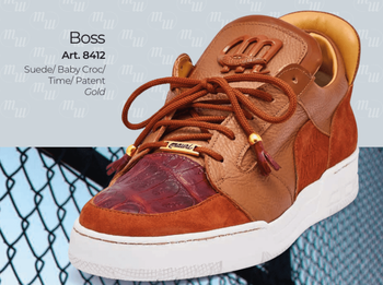 Mauri Boss 8412 Suede Baby Croc Patent Leather Sneaker