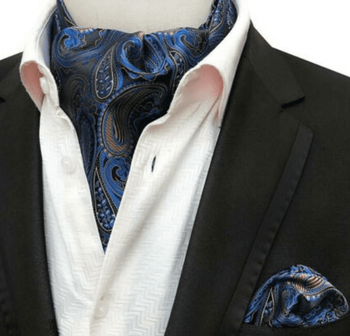 Blue Copper Paisley Silk Ascot w/Hanky