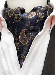 Midnight Gold Paisley Silk Ascot