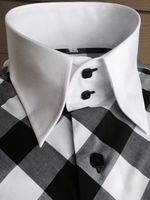 MorCouture 2 button Black White Diagonal Check High Collar ShirtS (14.5 - 15)