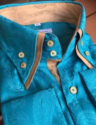 MorCouture Aqua Gold Trim Double Collar Shirt -custom order(over 20 color options)