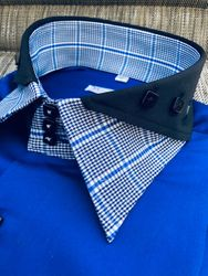 MorCouture Black Blue Plaid Split Collar Shirt