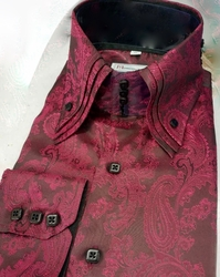 MorCouture Black Cherry Paisley Centipede Shirt -Special order