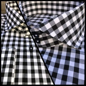 MorCouture Black Gingham Spread Collar Shirt