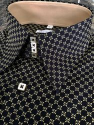 MorCouture Black Gold Pattern High Collar Shirt