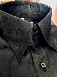 MorCouture Black Paisley High Collar Shirt (200 color options)