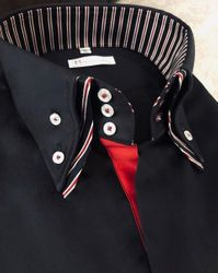 MorCouture Black Red Swirl Double Collar Shirt
