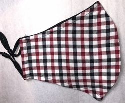 MorCouture Black red White Check Mask