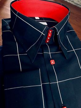MorCouture Black Red White Wide Windowpane Shirt
