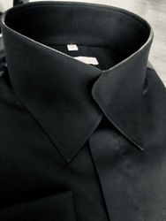 MorCouture Black Swerve Collar Shirt