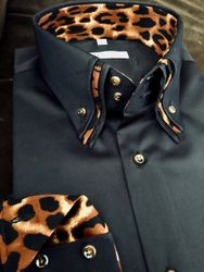 MorCouture Black Triple Collar Leopard trim Shirt