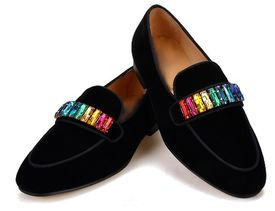 MorCouture Black Velvet Rainbow Shoes