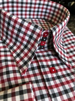 MorCouture Black White Red Check Shirt