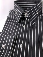 MorCouture Black White Stripe High Collar Shirt 2XL(18 - 18.5)