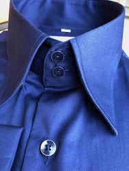 MorCouture Blue 2 Button Collar Shirt