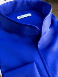 MorCouture Blue Band Collar Shirt
