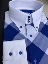 MorCouture Blue White Big Check Diagonal Shirt