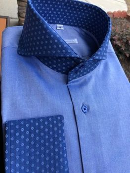 MorCouture Blue Contrast Cutaway Collar