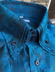 MorCouture Blue Crimson Triple Collar Shirt