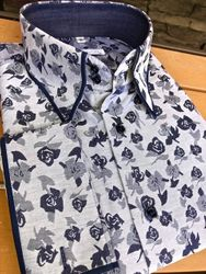 MorCouture Blue Floral Trimmed Collar Shirt