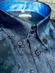 MorCouture Blue Paisley High Collar Shirt
