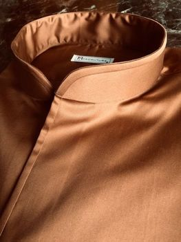 MorCouture Copper Brown Band Collar Shirt