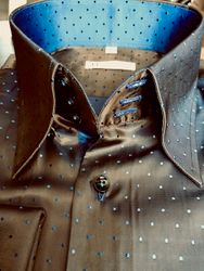 MorCouture Brown Blue Pin Dot Shirt