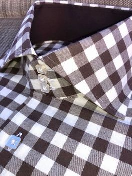 MorCouture Brown Gingham Spread High Collar Shirt