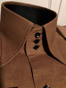MorCouture Brown High Collar Shirt