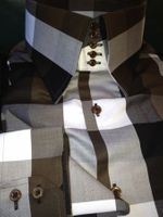 MorCouture Brown White Black Check High Collar Shirt