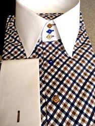 MorCouture Brown White Navy Check High Collar Shirt
