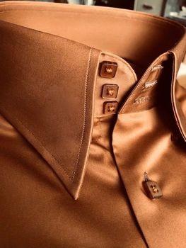 MorCouture Butter Brown High Collar Shirt