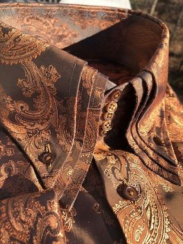 MorCouture Copper Paisley Triple Centipede Collar Shirt -special order