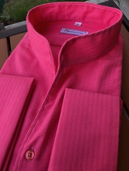 MorCouture Coral Seersucker Band Collar Shirt