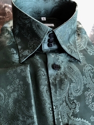 MorCouture Dark Green Paisley(#72-shown) High Collar Shirt (over 200 color options)