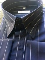 MorCouture Dark Navy White Pinstripe Shirt L (16 - 16.5)