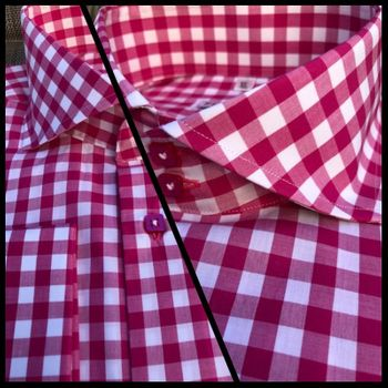 MorCouture Dark Pink Gingham Spread Collar Shirt