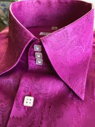 MorCouture Fuchsia Paisley High Collar Shirt (over 200 color options)