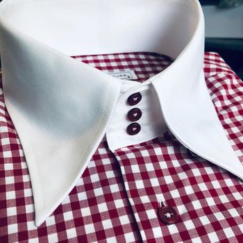MorCouture Gingham High Collar Shirt(15 colors)